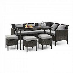 Blumfeldt Titania Dining Lounge Set, záhradná sedacia súprava, čierna/svetlosivá