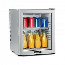 Klarstein Brooklyn 32 Silver, mini chladnička, energetická trieda A, sklenené dvere, LED, polica, strieborná