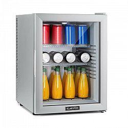 Klarstein Brooklyn 42 Silver, mini chladnička, energetická trieda A, sklenené dvere, LED, polica, strieborná