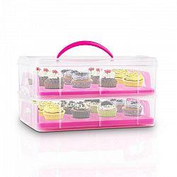 Klarstein USS Pink Cookie, ružový, prenosný box na koláče s 2 poschodiami, 2 roštami a držadlom